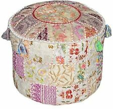 Indian round patchwork handmade embroidered ottoman footstool floor pouf cover