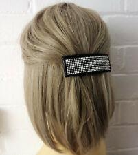 9cm long black & diamante spring barrette hair clip - french clip