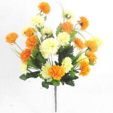 27 Flower Heads Cream & Orange Chrysanthemum Bush/Bunch  | Use Indoor & Outdoor