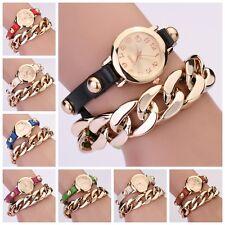 Fashion Women Rivet Faux Leather Chain Analog Quartz Bracelet Bangle Wrist Watch