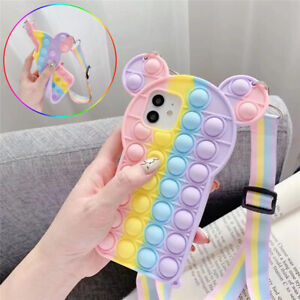 Pop Fidget Toys Push It Bubble Silicone Case Fr IPhone 6 7 8 Plus 11 12 Pro Max