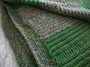 HANDMADE  CROCHETED LARGE AFGHAN GREEN AND MULTI  NEW**
