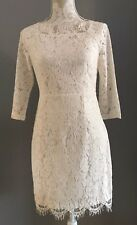 Cream Lace Dress With Scallop Detail Satin Lined Size 10 - Brand New With Tags