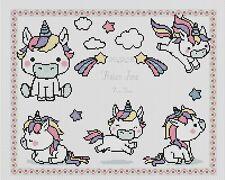 Sampler de Nacimiento Bebé Unicornios Punto de Cruz Kit Completo #5-101