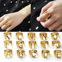 A-Z Letter Gold Adjustable Opening Ring Initials Alphabet Women's Jewelry