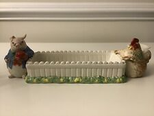 Fitz & Floyd 1987 Bacon & Eggs Rooster/Hen & Pig Cracker Cradle Japan
