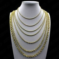 """10K Solid Yellow Gold 1.8mm-4mm Diamond Cut Rope Chain Pendant Necklace 16""""- 30"""""""
