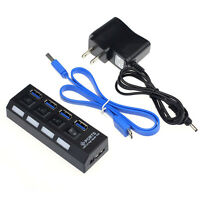 4 Ports USB 3.0 HUB With On/Off Switch Power Adapter For Desktop Laptop Tide