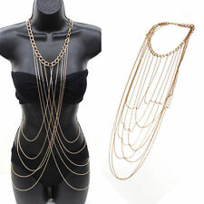 US Sexy Women Body Full Metal Chain Gold Jewelry Necklace Bikini Beach Harness