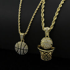 """Mens Gold Plated Hip-Hop Round Basket-Ball Pendant 24"""" & 30"""" Chain Necklace D749"""