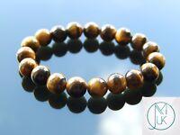 Yellow Tigers Eye 10mm Natural Gemstone Bracelet 6-9'' Elasticated Healing Stone