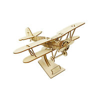 Biplane Japanese Wooden Puzzle Art 3D DIY Model Aircraft Hobby Build Gift Kit