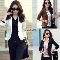 Women OL Jacket Coat Lapel One Button Long Sleeve Short Suit Blazer Outerwear OO