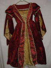 Renaissance Gown Medieval Gown Costume Dress -Velvet Gold Trim - Girls - Cosplay
