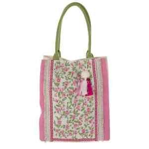 Tasche Strandtasche Einkauftasche Pink Ibiza Ethno Orient bestickt Blanc Mariclo