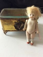Small German All Bisque Doll with Glass Eyes And Victorian Beveled Glass Case