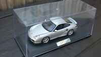 Rare Silver 1:18 AUTOART Porsche 911 Turbo 996 On Display Case & Plaque Toy Car