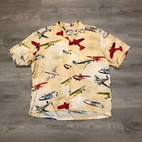 Paradise Found Mens Fighter Planes Hawaiian Shirt Beige S/S Rayon Size Large