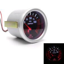 2'' 52mm Smoke Tint Lens Red Illuminated Needle Car LED Turbo Oil Pressure Gauge