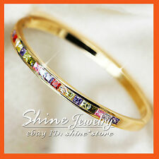 18K GOLD FILLED SQUARE Ruby Amethyst Diamond Topaz Peridot SOLID BANGLE BRACELET