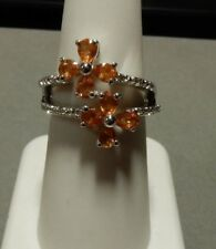 2.01ct Size 7 Spessartite Garnet & White Topaz Sterling Silver Ring Spessartine