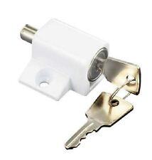 White Sliding Patio Locking Door Bolt. Window Security Lock & 2 Keys & Fixings