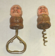 Nice Cond. 2 Vintage Figural Old Man Bottle Opener & Corkscrew Sorocco Anri Type