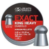 JSB Exact King Heavy Air gun pellets .25/6.35mm 33.95gr (300CT) Free P&P
