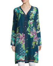 """JOHNNY WAS """"GARDEN"""" GREEN TONE FLORAL BUTTON FRONT LONG RAYON CARDIGAN, 2X"""