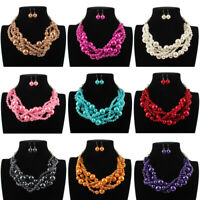 Fashion Women Big Resin Pearl Chunky Choker Statement Pendant Bib Chain Necklace