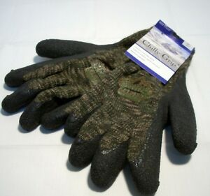 Red Steer Camo Camouflage Chilly Grip Gloves Black Texture Palm Knit Liner