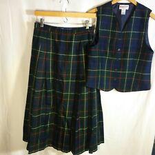 VTG Women's Pendleton Signature Tartan 2-Piece Wool Outfit Vest sz 8 Skirt sz 10
