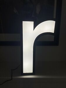 Reclaimed light up shop letter 'r' metal and perspex 36cm working - night light