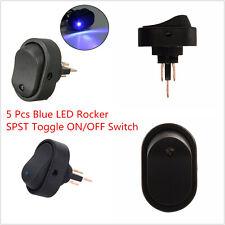 Universal 5 Pcs 12V 30A Blue LED Light Car Boat Rocker SPST Toggle On/Off Switch