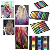 Hair Chalk Dye Temporary Non-toxic 6 12 24 36 Colors Pastels Salon Kit DIY