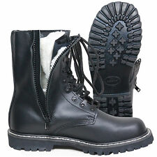 Faux Fur Lined German Pilot Boots with Side Zip - Winter Leather Army Military