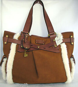 NEW FOSSIL ADRINA TAN,SADDLE BROWN GENUINE LEATHER+FAUX FUR LARGE TOTE HAND BAG