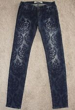 New Womens Hollister Co Jeans Sz 1 R Medium Wash Floral Paisely Pattern Skinny