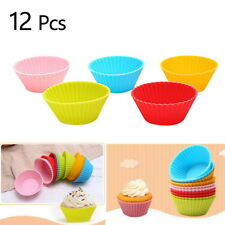 12Pcs Muffin Cases Silicone Cupcake Mould 7cm Reusable Round Baking