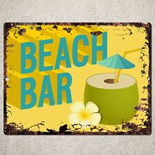 PP0041 Vintage Rustic Sign Plate Welcome Beach Bar Pub Cafe Tropical Decor Gift