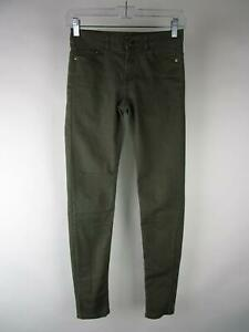 H&M Women Solid Green Cotton Stretch Low Rise Dark Wash Skinny Jeans Size 4