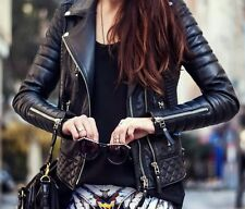 New Womens Classic Black Lambskin Quilted Zipper Biker Leather Jacket
