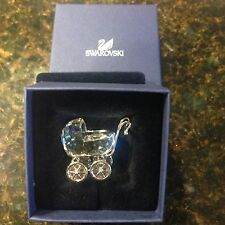 Swarovski Signed Crystal Baby Buggy Carriage RARE With Rhodium Rolling Wheels