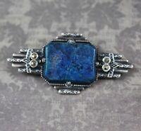Vintage Art Deco Sterling Silver Marcasite Blue Stone Brooch