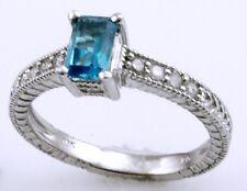 GENUINE BLUE TOPAZ & DIAMOND RING IN 10K WHITE GOLD