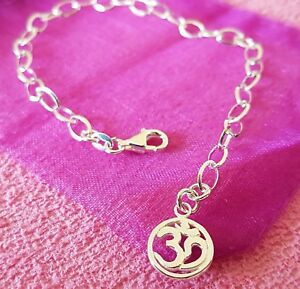 new bracelet chain 925 sterling silver with om / ohm charm 7.5 inch