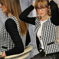 Women Houndstooth Zipper Blazer Suit Long Sleeve Jacket Casual Slim Fit Outwear