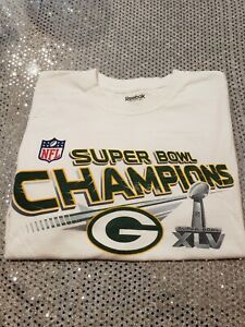 NFL Super Bowl XLV Champions Green Bay Packers White T-Shirt Size L