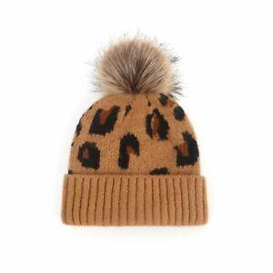 Stylish Pompom Baby Hat Leopard Print Winter Beanie Soft Knitted Warm Cap Bonnet