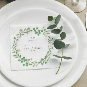 Botanical Wreath Wedding Cocktail Napkins | Floral Hen Party Tableware x16